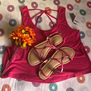Pink tank top with matching sandals
